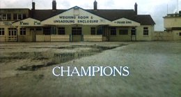 Opening credits for 'Champions' showing the unsaddling enclosure at Aintree racecourse