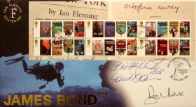 'James Bond' first day cover signed by Britt Ekland, Maud Adams & Sir Roger Moore