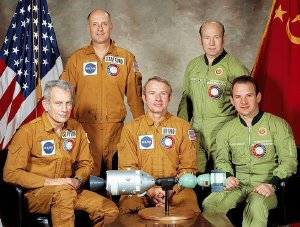 The crews of the Apollo-Soyuz Test Project