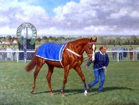 Aldaniti at Sandown in 1979 - oil painting by Richard Stone Reeves