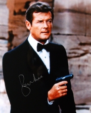 Photograph from 'The Spy Who Loved Me' signed by Roger Moore