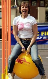 Jenny Agutter takes part in The Big Bounce in 2005, to raise funds for Cystic Fibrosis research
