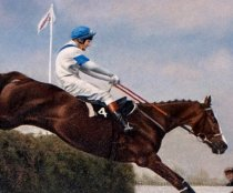 Detail of an oil painting at Barkfold Manor showing Aldaniti jumping in the Grand National