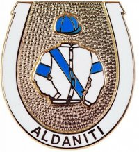 Aldaniti badge showing Nick Embiricos' racing colours based on the flag of Greece