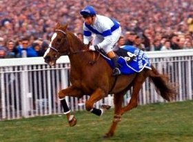 Bob Champion takes Aldaniti down to the start of the Grand National at Aintree