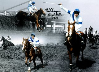 Montage (signed by Bob Champion) of Aldaniti in the 1981 Grand National