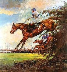 Painting of Bob Champion & Aldaniti by Claire Eva Burton