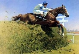 Painting of Aldaniti & Bob Champion by Peter Curling