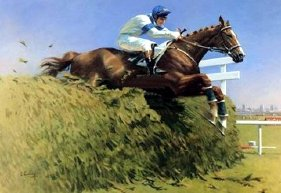 Peter Curling's painting of Aldaniti & Bob Champion