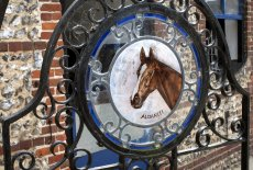 The glass painting of Aldaniti on the gate at Downs Stables, Findon