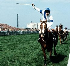 Aldaniti & Bob Champion pass the winning post in the 1981 Grand National