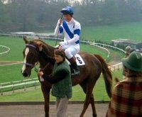John Hurt on Aldaniti at Chepstow racecourse in 'Champions'