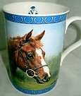 Bone china mug by Danbury Mint featuring a portrait of Aldaniti by Grahame Isom