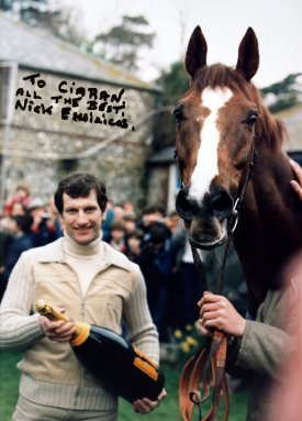Photo of Bob Champion & Aldaniti signed by Nick Embiricos
