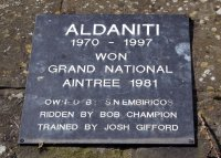 Plaque on Aldaniti's grave in the grounds of Barkfold Manor