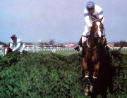 Aldaniti jumps the final fence in the Grand National, ahead of Royal Mail