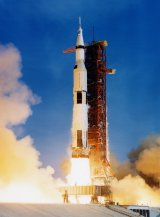 The Saturn rocket lifts off with Apollo XI