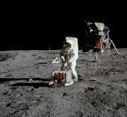 Aldrin carries out experiments on the Moon - the lunar module 'Eagle' is in the background