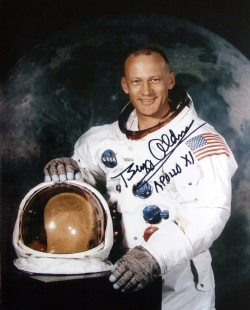 Ciaran's photograph signed by Buzz Aldrin