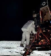 Armstrong's photograph of Aldrin descending the lunar module's steps to the Moon's surface