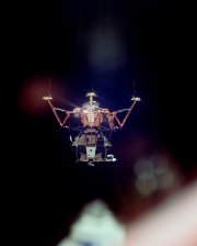 The Lunar Module 'Eagle' on its way to land on the Moon, as seen from the Command Module 'Columbia'