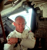Buzz Aldrin on board the Lunar Module 'Eagle'