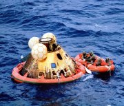 The Apollo XI Command Module after splashdown