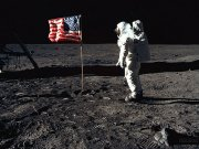 Buzz Aldrin and the US flag on the Moon