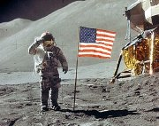 Buzz Aldrin salutes the American flag after landing on the Moon