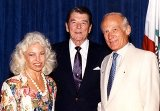 Buzz Aldrin with his wife Lois and Ronald Reagan