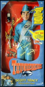 Scott Tracy model signed by Gerry Anderson and Shane Rimmer