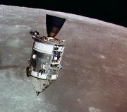 The Apollo 15 Command Module as seen, and photographed, from the Lunar Module during the mission to the Moon