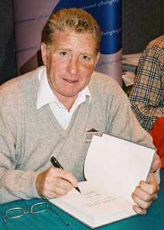 Alan Ball signing his autobiography 'Playing Extra Time'