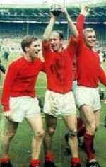 Alan Ball, Bobby Charlton & Bobby Moore after England's World Cup win