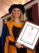 Alison Balsom with her Honorary Doctor of Arts degree from Anglia Ruskin University