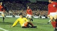 Gordon Banks in action during the 1966 World Cup final