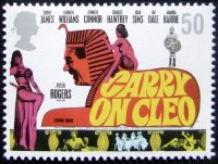 50p British postage stamp issued in 2008 depicting a poster design from 'Carry On Cleo'