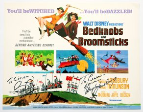 Lobby card for 'Bedknobs and Broomsticks' signed by Angela Lansbury and Bruce Forsyth