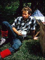Chris Bonington at base camp before climbing the 'Tower of Paine' in 1963
