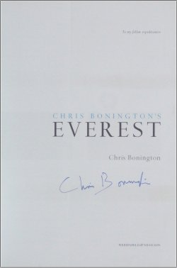 Chris Bonington signed copy of 'Everest'