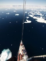 Chris Bonington photo from the mast of the Suhaili in Greenland