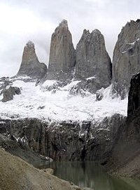 The three peaks of the 'Torres del Paine' in Chile