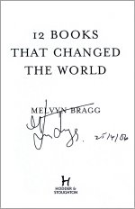 Autographed title page of '12 Books That Changed the World'