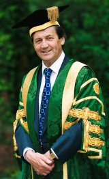 Melvyn Bragg in his robes as Chancellor of Leeds University