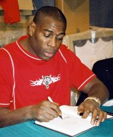 Frank Bruno signing his autobiography