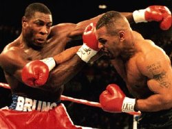 Frank Bruno in action against Mike Tyson