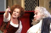 Judi Dench (Mistress Quickly) & Simon Callow (Falstaff) in 'The Merry Wives of Windsor - The Musical' at the Royal Shakespeare Theatre, Stratford in 2006