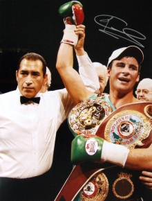 Joe Calzaghe has signed this photograph of him after his fight with Mikkel Kessler