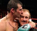 Joe Calzaghe and his father Enzo after the fight against Roy Jones Jr.