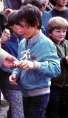Joe Calzaghe aged 10 with a football trophy he won at Pentwynmawr Primary School